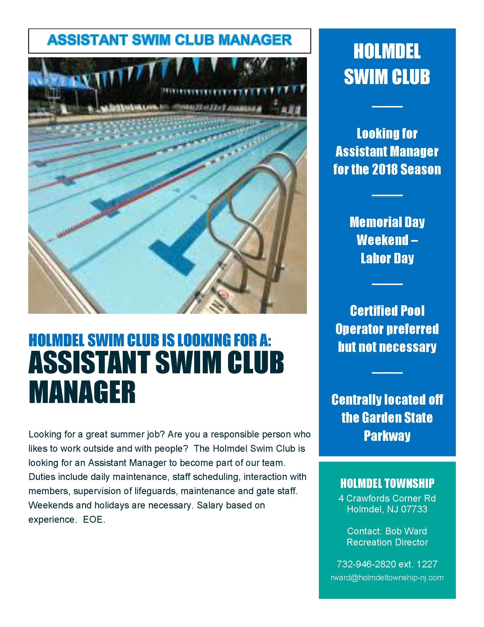 Assistant Swim Club Manager Want Ad 2019